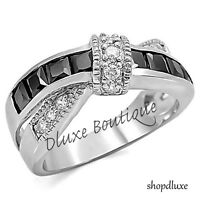 1.75 CT BLACK & CLEAR CZ SILVER STAINLESS STEEL FASHION RING WOMEN'S SIZE 5-10