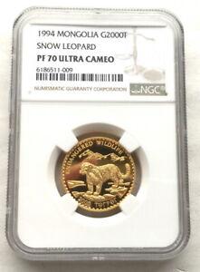 Mongolia 1998 Snow Leopard 2000 Tugrik NGC PF70 Gold Coin,Rare!