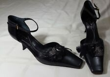 Kate Spade Black Leather Slingbacks Square Toe Bow Feather Accent Size 8
