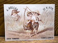 Antique Trade Card - Adolph Heller Dealer In Dress Trimmings - Philadelphia PA