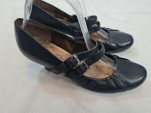 Femmes Clarks Willow Art Cuir Noir Sandales Taille UK 5.5 EU 39.