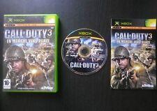 CALL OF DUTY 3 EN MARCHE VERS PARIS : JEU Microsoft XBOX (complet, envoi suivi)