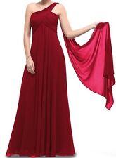 Elegant Women's One Shoulder Empire Long Evening Dress Gown Dark Red US 6 or 10