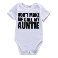 Newborn Baby Boy Girl Auntie Letter Print Romper Bodysuit Infant Summer Clothing