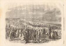 1861 ANTIQUE PRINT- EPSOM RACES, AMUSEMENTS ON THE DOWNS