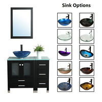 "36"" Bathroom Vanity Cabinet & Tempered Glass Vessel Sink Bowl Faucet Drain Combo"