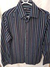 Celio Men Black Striped Long Sleeves 100% Cotton Button Down Shirt Size S