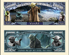 YODA / STAR WARS - BILLET 1 MILLION DOLLAR US! Collection Maitre Jedi Force Luke