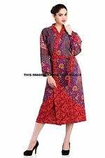 Indian Floral Print Cotton Long Kimono Women Bath Robe Sexy Nightgown Boho Dres