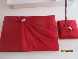 """Lillian Rose Wedding Guest Book with Pen and Holder. 10""""x6.5"""" Red GB612R NEW"""