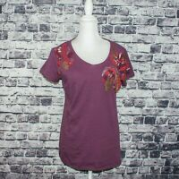 Sundance Catalog Women's Short Sleeve Tee Shirt Floral Embroidered Purple Cotton