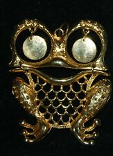 """Vintage Articulated Gold Tone Pendant Smiling Frog Dangle Eyes 3"""" Ridged Body"""