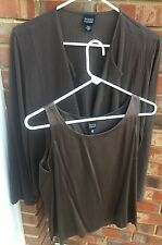 Eileen Fisher XS Brown Silk Cotton Brown Twinset Top jacket Blouse LN EEUC