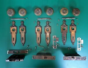 Antique Chippendale Victorian Shell Web BRASS Door Knobs Lock Back Plates