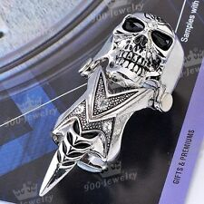 1x Punk Silvery Mens Knuckle Crystal Ghost Skull Armour Metal Finger Double Ring