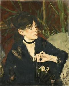 """Edouard Manet - Berthe Morisot with a Fan (1874) - 17"""" x 22"""" Fine Art Print"""