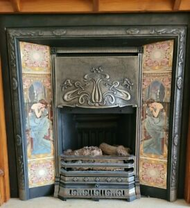 Victorian Style Fireplace - Black with tiled features