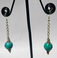 Regional Sterling silver earring Handmade Asian jewelry Turquoise stone DM8