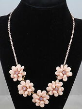 Betsey Johnson Blush Pink MARIE ANTOINETTE Pave' Flower Frontal Necklace $75