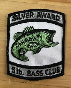 "Vintage Bass Fishing Patch Silver Award 5lb Bass Club - 3.5"" Tall - Nice!!! s9"