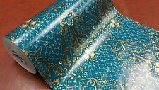 Full ream 18 inch wide Teal gilded Roses gift wrap 833 feet