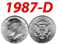 1987-D 50C Kennedy Half Dollar bright clear uncirculated === BU===C//N=