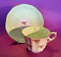 Royal Grafton Teacup And Saucer - Pale Green Interiors With Pink Roses - England