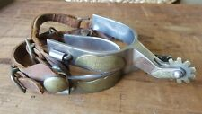 Vintage Cowboy Crockett Spurs & Straps Stainless Western Rodeo Antique Old
