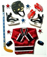 Ice Hockey Red Jersey Puck Stick Hat Trick Arena  Jolee's 3D Stickers