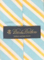 BROOKS BROTHERS Blue Gold Striped 100% Silk Mens Tie