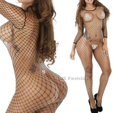 Erotic Sleeved Fishnet Lingerie Babydoll Teddy Body Cat Suit Stocking Hen Party