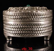 Old China antique Qianlong Pure copper Set gemstone Two Dragon Incense burner