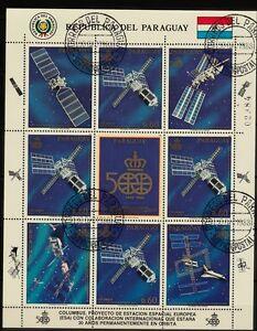 Kleinbogen  Paraguay 1989 MiNr.  4281 Weltraum , Raumstation  gestempelt