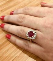 5Ct Oval Shape Red Ruby & Diamond Cluster Engagement Ring 14k Yellow Gold Finish