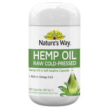 Nature's Way Hemp Oil 60 Capsules Raw Cold-Pressed Rich in Omega-3 & 6 Natures