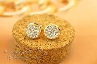 Bling Bling 18K Gold Filled 10MM Full Stunning Crystal Round Stud Earrings Gift