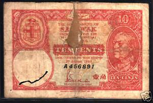 SARAWAK 10 CENTS P-25 1940 RAJAH BROOKE *A* SERIES MONEY BILL MALAYSIA BANK NOTE