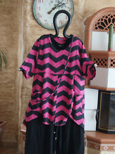 8214 LABASS 2016 Lagenlook Leinen Shirt TANJA Zickzack pink schwarz L 44 46