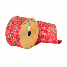 """Vickerman 2.5""""x10Yd Red/Gold Holiday Typography"""