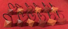 RED & ORANGE DIAMOND SHAPED SHOWER CURTAIN HOOKS SET OF 12 NEW