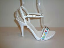 Charles David Size 9 M BELT White Leather Heels Sandals Womens Shoes