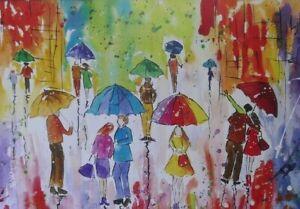 Colourful Umbrellas  PRINT, size A3 from original watercolour