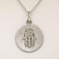 "14K White Gold .18ctw Diamond Hand of Fatima Hamsa Hand Disk Pendant w/16"" Chain"