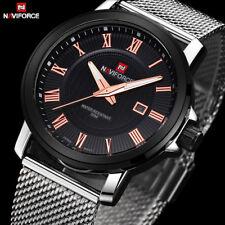 Gents Luxury Naviforce Black Face Silver Milanese Stainless Steel Strap Watch N2