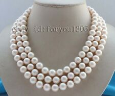 "17-18-19"" 3rows Genine Natural 11mm Round White Pearl Necklace #f2567!"