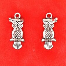 10 x Tibetan Silver Wise Graduate Owl With Mortar Board Double Side Charm
