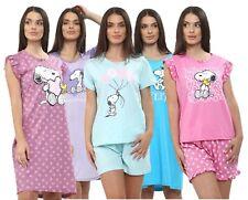 Ladies Short Sleeve Cotton Character Pyjamas Set Lounge Wear Womens PJs Gown