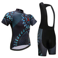 Men's Gear Cycling Bib Kit Bike Cycle Jersey and Padded (Bib) Shorts Set S-5XL