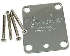 NOS Fender 4-bolt Chrome Neck Plate w Screws USA Strat Tele Bass 099-1445-100