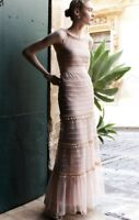 NEW BHLDN nude Mesh Tulle Dott Tiered Bow Ruffle Gown bought is Anthropologie 6